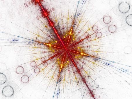 Fraktales Bild der Teilchenspaltung im großen Hadronenbeschleuniger CERN, computergenerierter abstrakter Hintergrund
