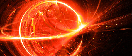 Fiery glowing interstellar technology in space, computer generated abstract background, 3D rendering Imagens