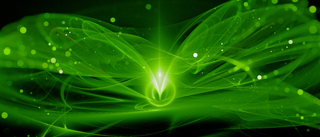 Green glowing new technology in deep space, computer generated abstract background, 3D rendering