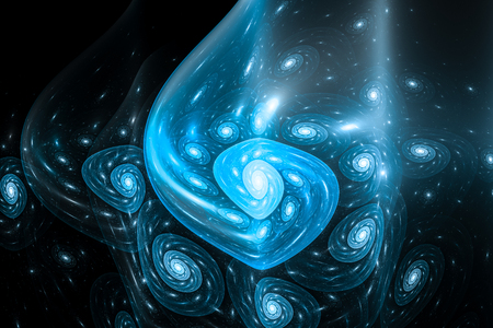Blue glowing multidimensional fibonacci spiral, golden ration, computer generated abstract background, 3D rendering