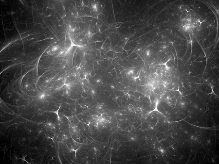 Glowing synapses in space, computer generated abstract intensity map, black and white overlay, 3D rendering Stock Photo