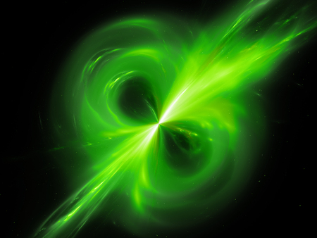 Green glowing magnetic field in space, computer generated abstract background, 3D rendering
