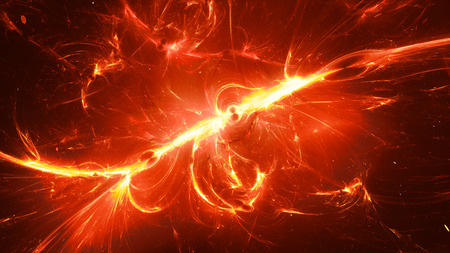 Fiery glowing interstellar energy in space, computer generated abstract background, 3D rendering 版權商用圖片