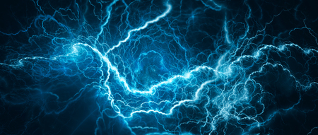 Blue glowing lightning, computer generated abstract background Archivio Fotografico