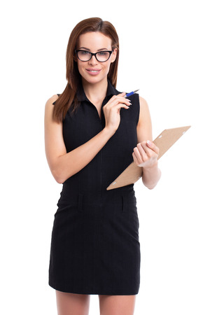 20s businesswoman holding checklist, isolated on white Banco de Imagens