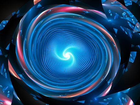 Blue glowing galactic spinning wheel, computer generated abastract background, 3D rendering