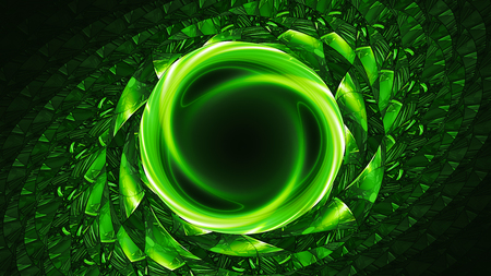 Green glowing artificial wormhole, computer generated abstract background, 3D rendering