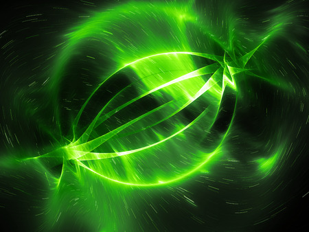 Green glowing energy strings in space, computer generated abstract background, 3D rendering