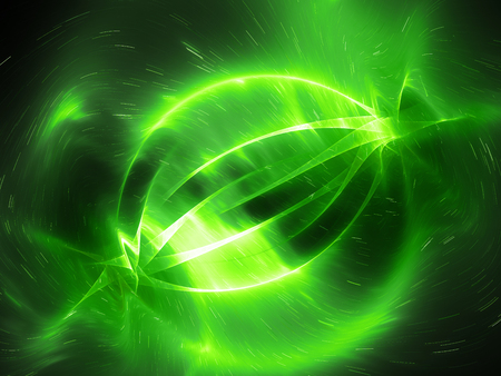 Green glowing energy correlated strings in space, computer generated abstract background, 3D rendering