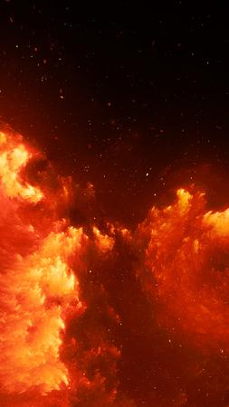 Modèle de smartphone nébuleuse rougeoyante ardente, arrière-plan abstrait généré par ordinateur, rendu 3D