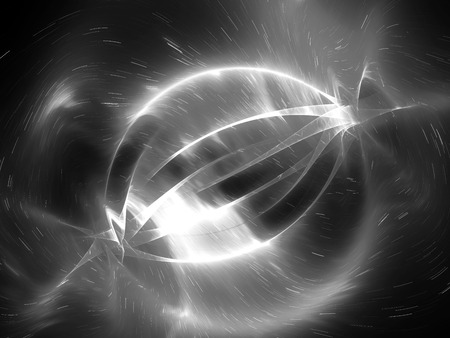 Glowing energy strings in space effect, computer generated abstract intensity map, black and white, 3D rendering
