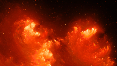 Fiery glowing nebula fractal, computer generated abstract background, 3D rendering