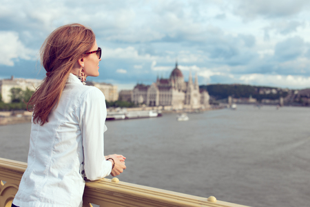 Young brunette woman sightseeing at Budapest, Hungary