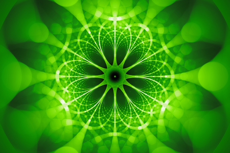 Green glowing network fractal concept, computer generated abstract background, 3D render