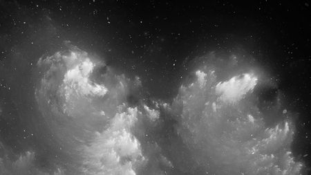 Black and white nebula, computer generated abstract intensity map, 3D rendering Фото со стока