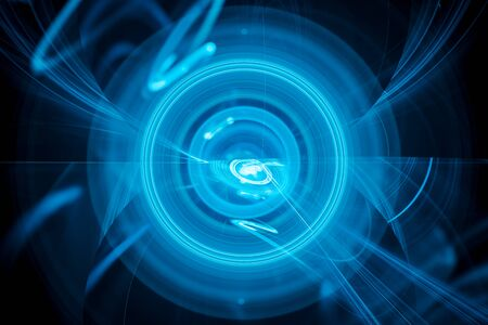 Multidimensional blue glowing futuristic circles, depth of field, computer generated abstract background, 3D rendering