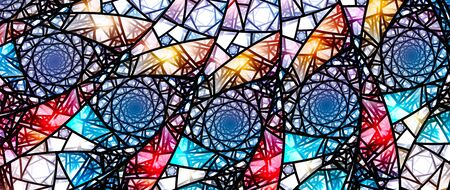 Colorful glowing stained glass, computer generated abstract background, fractal, 8k widescreen, 3D rendering