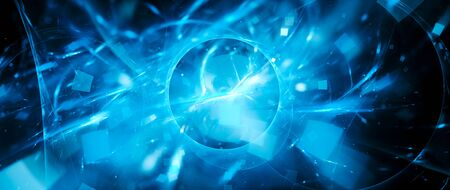 glowing portal with plasma particles, computer generated abstract background, 3D rendering Stock fotó