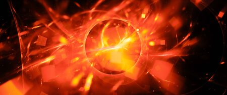 Fiery glowing portal with plasma particles, computer generated abstract background, 3D rendering