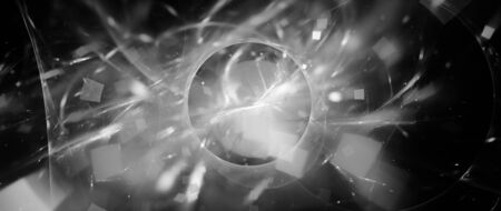 Glowing portal with plasma particles black and white effect, astract intensity map, 3D rendering 스톡 콘텐츠