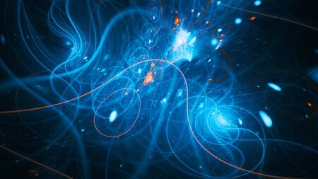 Trajectories of matter and antimatter, computer generated abstract background, 3D rendering