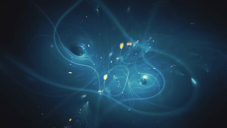 Blue glowing trajectories around black holes, computer generated abstract background, 3D rendering