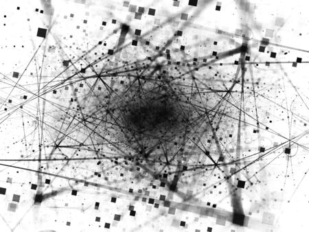 Negative connections in space with particles black and white,  big data, computer generated abstract background