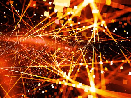 Fiery glowing connection lines with particles, new technology, big data, computer generated abstract background
