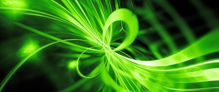 Green glowing quantum mechanics computer generated abstract widescreen background, 3D rendering