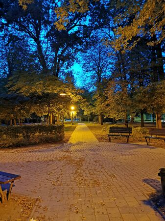 Tranquil park at evening at blue hour in Komarom, Hungary