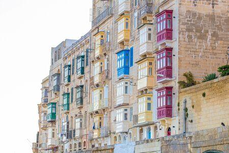 Colorful traditional maltese balconies facade, Valletta, Malta Banco de Imagens