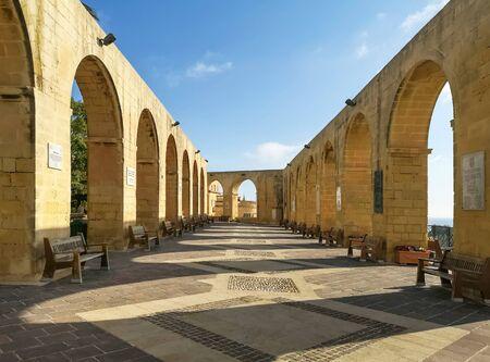 Arcs of Barrakka garden at Valletta, Malta Фото со стока