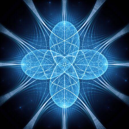 Blau leuchtende Quantenharmonie, computergeneriertes abstraktes Fraktal, 3D-Rendering