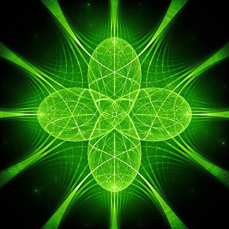 Grün leuchtende Quantenharmonie, computergeneriertes abstraktes Fraktal, 3D-Rendering