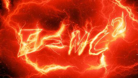 Fiery lightning Einstein's mass-energy equivalence, E=mc2, computer generated abstract background, 3D rendering Standard-Bild