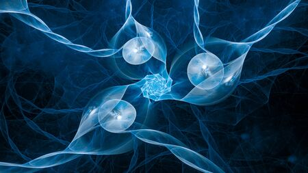 Blue glowing correlated quantums abstract background, 3D rendering