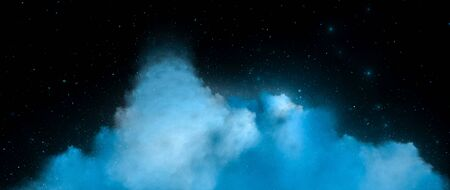 Blue nebula in deep space ultra widescreen template, computer generated abstract background, 3D rendering