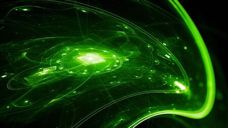 Green glowing futuristic technology, computer generated abstract background, 3D render