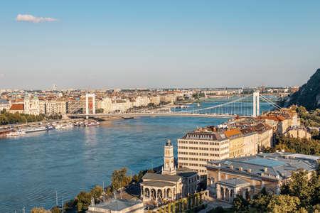 Elisabeth bridge on blue Danube at Budapest, Hungary