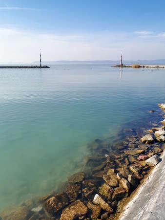 Port at Balatonszemes during winter, Balaton, Hungary