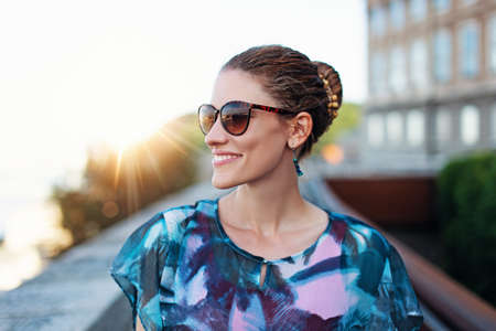 Cheerful 20s positive urban woman portrait, Hungary, Budapest 免版税图像