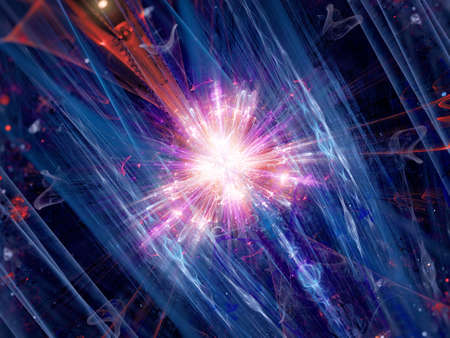 Colorful fission of particle in collider, computer generated abstract background, 3D rendering