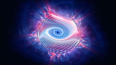 Shining colorful multidimensional spiral in space, computer generated abstract background, 3D rendering