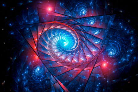 Glowing multidimensional spirals, computer generated abstract background, 3D rendering