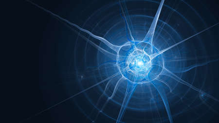 Blue glowing neuron with axons, computer generated abstract template, 3D rendering