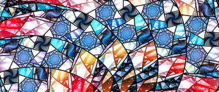 Colorful stained-glass ultrawide screen 10k abstract background, computer generated 3D rendering Stock Photo