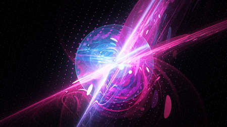 Colorful vibrant technology bubble in space, computer generated abstract backgroud, 3D rendering 版權商用圖片
