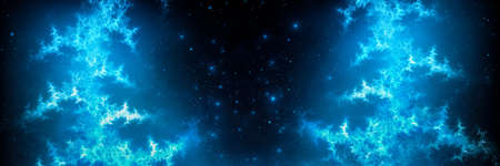 Blue glowing plasma lightning template, computer generated abstract background, 3D rebdering