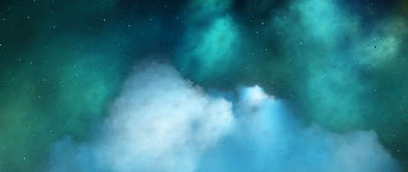 Blue and green dreamlike nebula in deep space, computer generated abstract background, 3D rendering