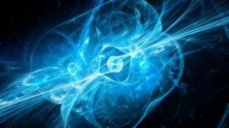 Blue glowing quasar in space, computer generated abstract background, 3D rendering